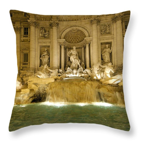 Trevi Fountain. Rome Throw Pillow by BERNARD JAUBERT