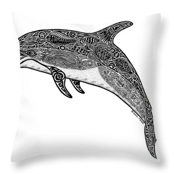 Tribal Dolphin Throw Pillow by Carol Lynne
