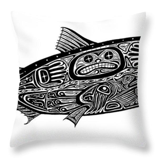 Tribal Salmon Throw Pillow by Carol Lynne