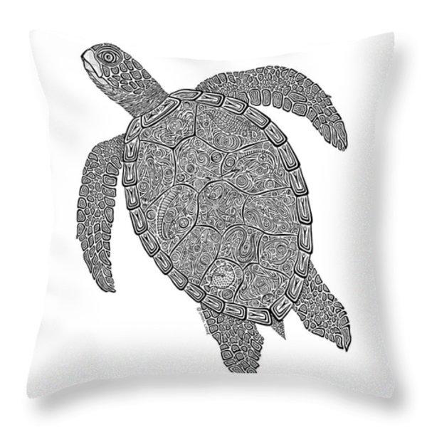 Tribal Turtle II Throw Pillow by Carol Lynne
