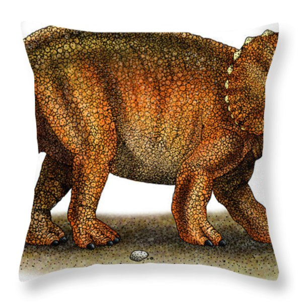 Triceratops Throw Pillow by Roger Hall and Photo Researchers