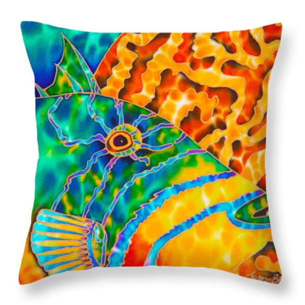 Trigger and Brain Coral Throw Pillow by Daniel Jean-Baptiste