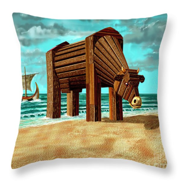Trojan Cow Throw Pillow by Russell Kightley