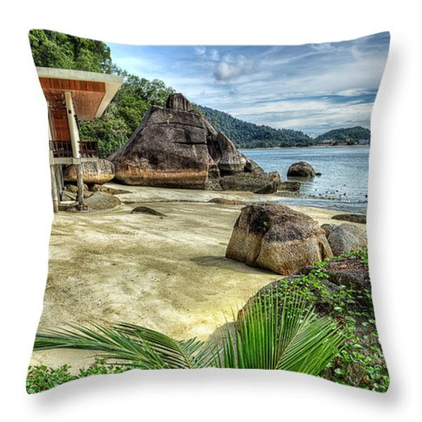 Tropical Beach Throw Pillow by Adrian Evans