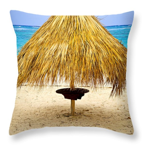 Tropical beach umbrella Throw Pillow by Elena Elisseeva