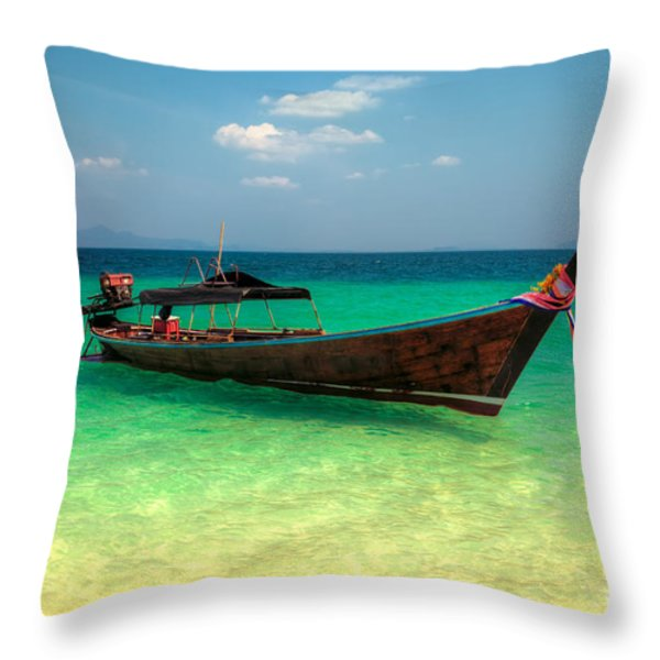 Tropical Boat Throw Pillow by Adrian Evans