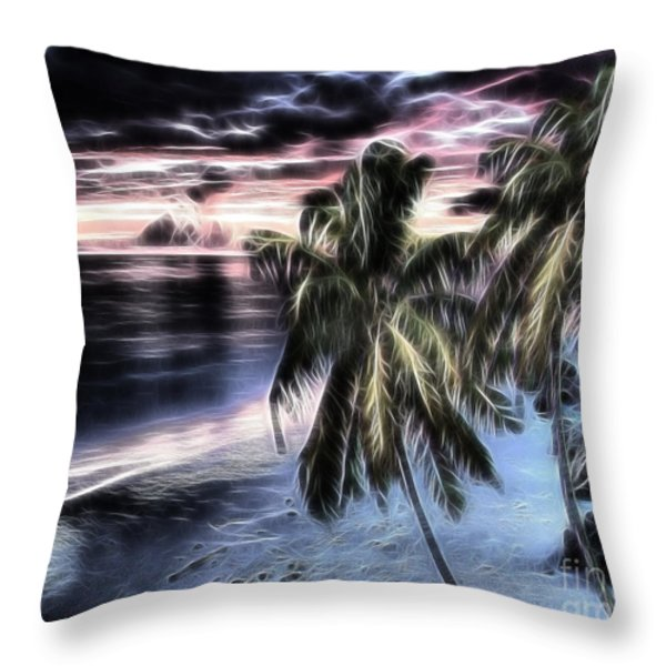 Tropical Evening Throw Pillow by Cheryl Young