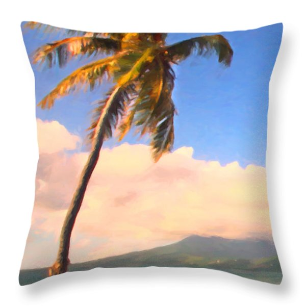 Tropical Island 2 - Painterly Throw Pillow by Wingsdomain Art and Photography