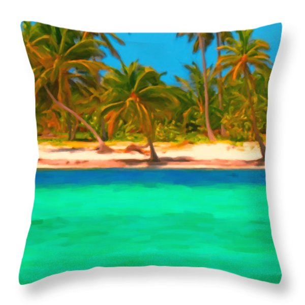 Tropical Island 5 - Painterly Throw Pillow by Wingsdomain Art and Photography
