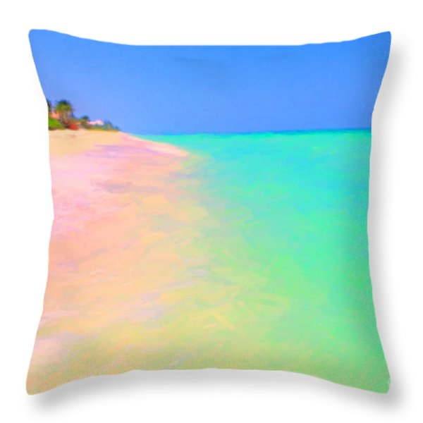 Tropical Island 7 - Painterly Throw Pillow by Wingsdomain Art and Photography