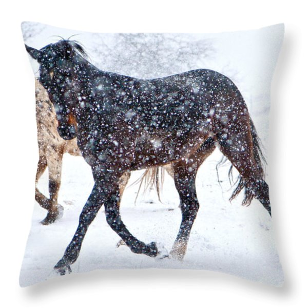 Trotting In The Snow Throw Pillow by Betsy A  Cutler