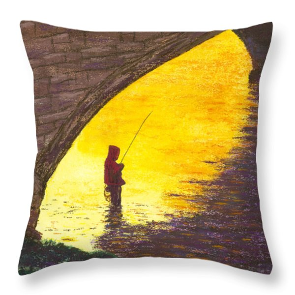 Trout Fishing Throw Pillow by Garry McMichael