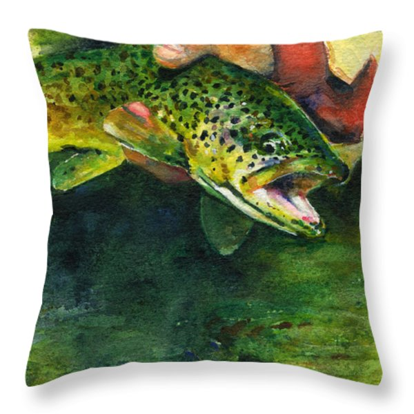 Trout In Hand Throw Pillow by John D Benson