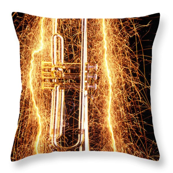Trumpet Outlined With Sparks Throw Pillow by Garry Gay
