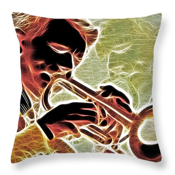 Trumpet Throw Pillow by Stephen Younts