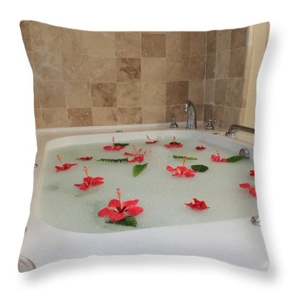 Tub Of Hibiscus Throw Pillow by Shane Bechler