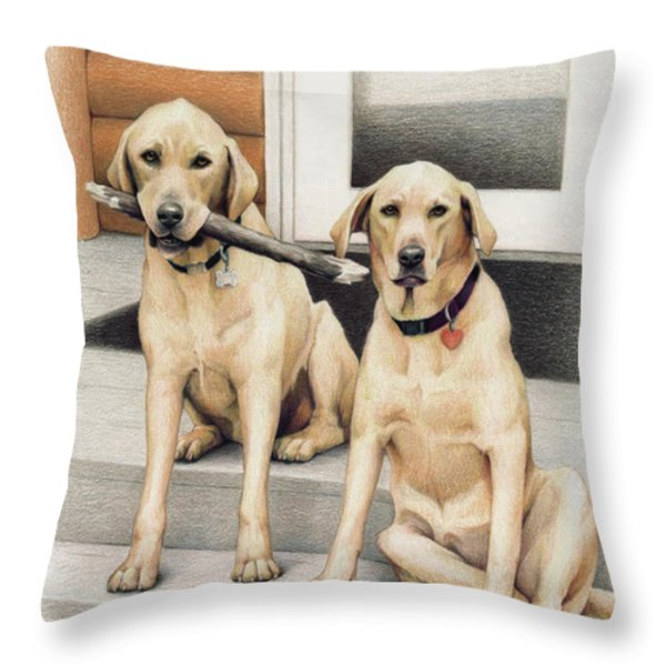 Tucker And Lily Throw Pillow by Amy S Turner