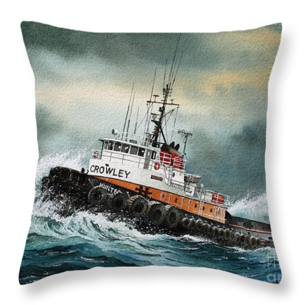 Tugboat Hunter Crowley Throw Pillow by James Williamson