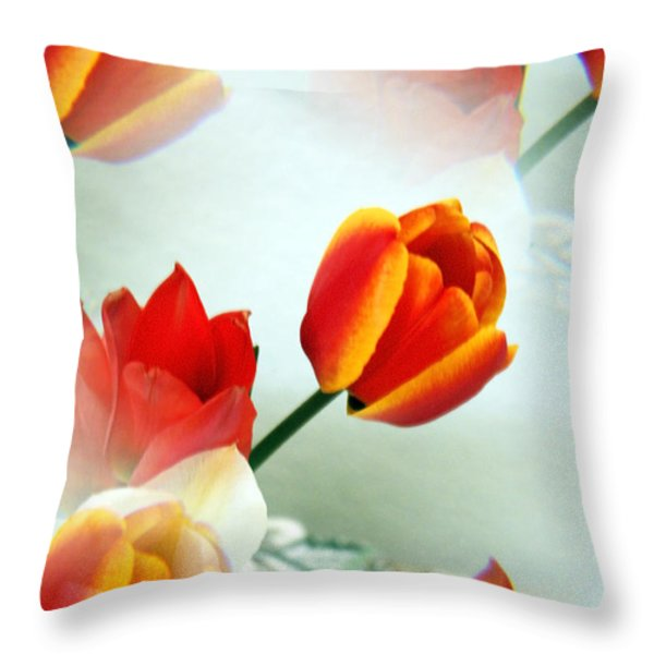 Tulip Abstract Throw Pillow by Marilyn Hunt
