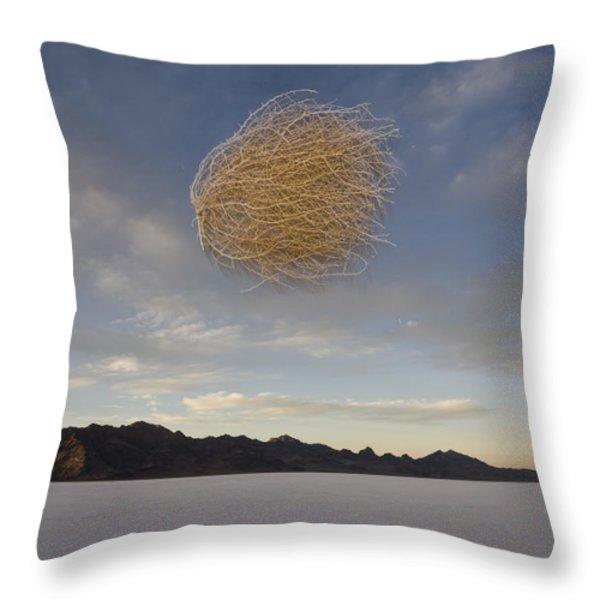 Tumbleweed In Mid Air Throw Pillow by John Burcham
