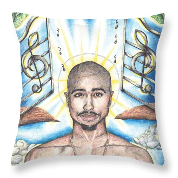 Tupac in Heaven Throw Pillow by Debbie DeWitt