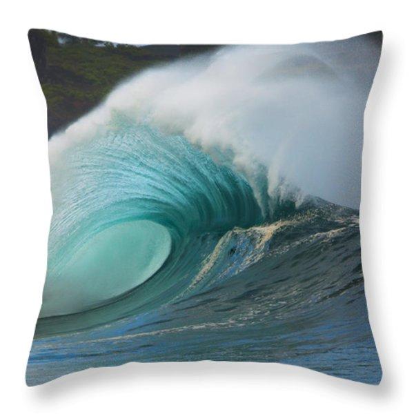 Turquoise Wave Peak Throw Pillow by Dana Edmunds - Printscapes