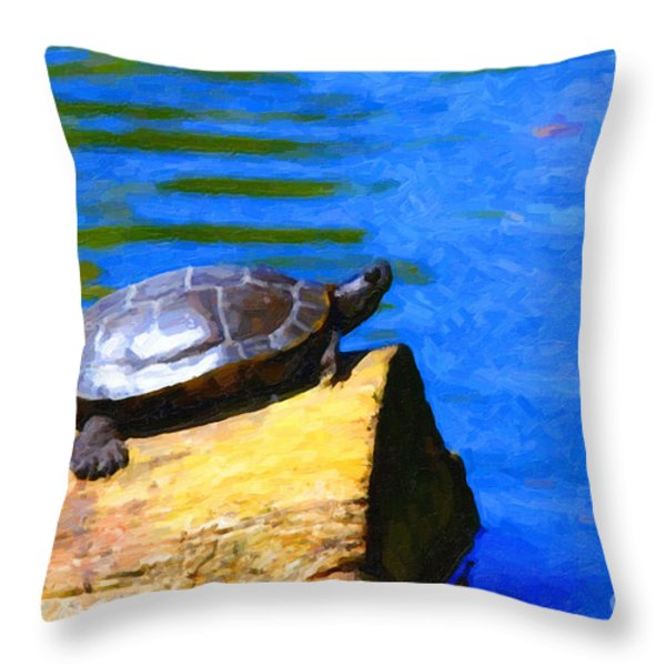 Turtle Basking In The Sun Throw Pillow by Wingsdomain Art and Photography