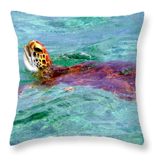 Turtle Time Throw Pillow by Karen Wiles