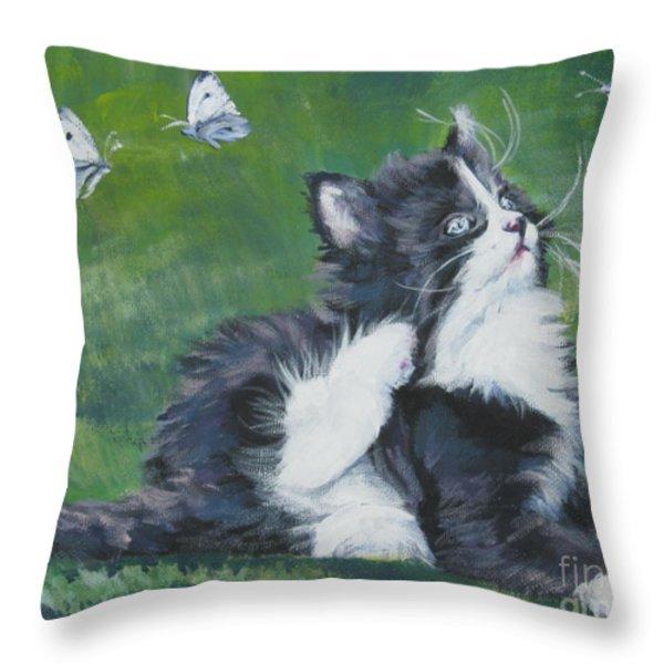 Tuxedo Kitten Throw Pillow by Lee Ann Shepard