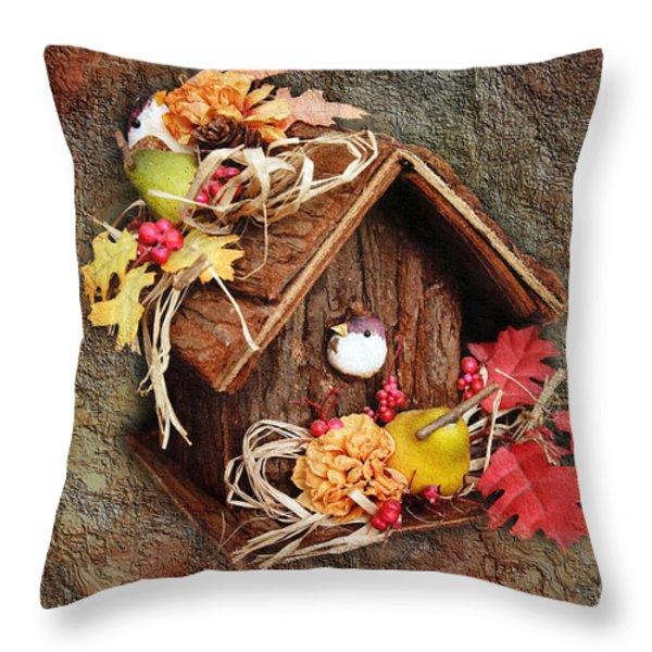 Tweet Little Bird House Throw Pillow by Andee Design