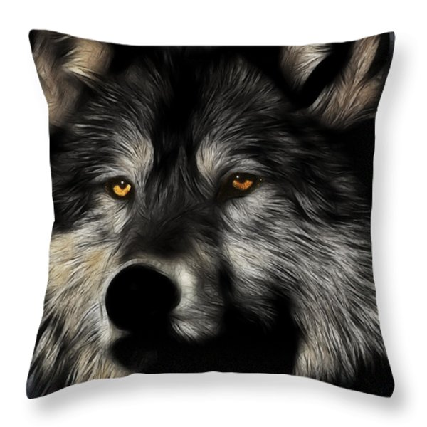Twilight Eyes Of The Lone Wolf Throw Pillow by Wingsdomain Art and Photography