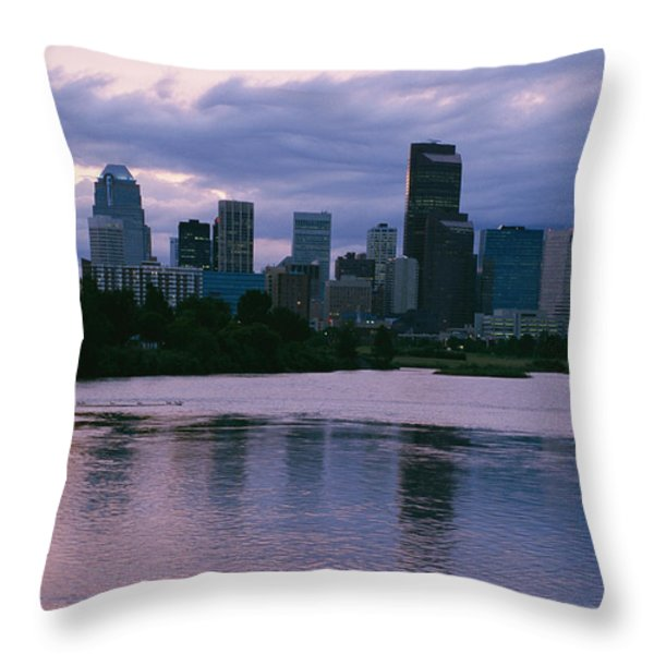 Twilight On The Bow River And Calgary Throw Pillow by Michael S. Lewis