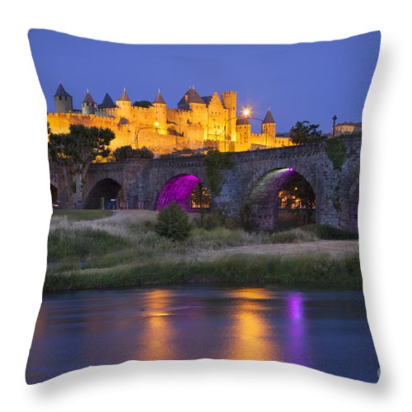 Twilight Over Carcassonne Throw Pillow by Brian Jannsen