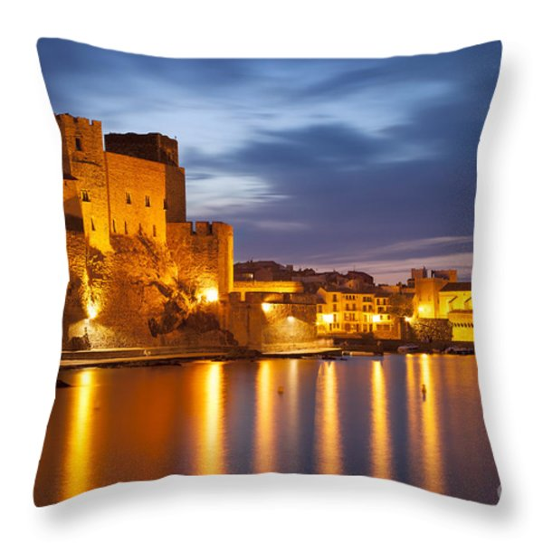 Twilight over Collioure Throw Pillow by Brian Jannsen