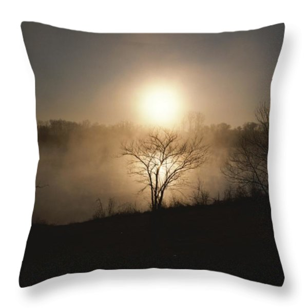 Twilight View Of Fog Over The Tennessee Throw Pillow by Sam Abell