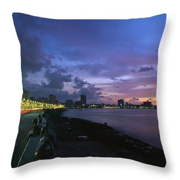 Twilight View Of Young Cubans Sitting Throw Pillow by Steve Winter