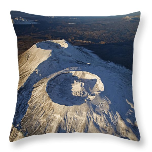Twin Craters Atop Krasheninnikov Throw Pillow by Michael Melford