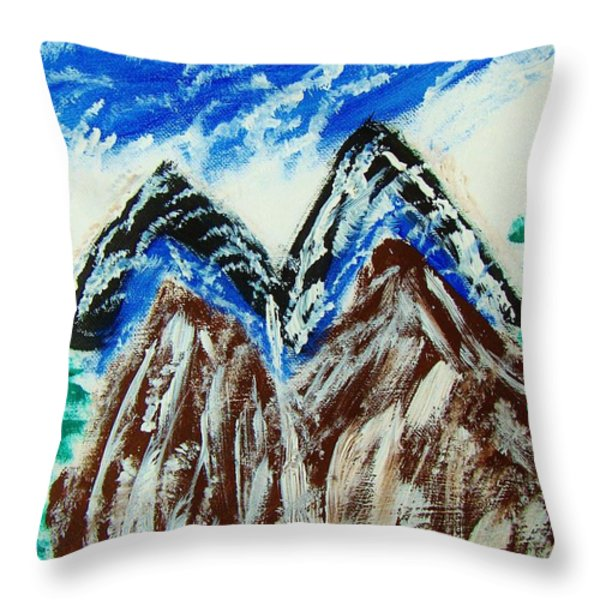 twins Peaks  Throw Pillow by M and L Creations Art Craft Boutique