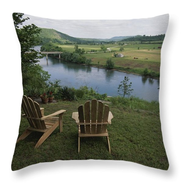 Two Adirondack Chairs On A Scenic Throw Pillow by Randy Olson