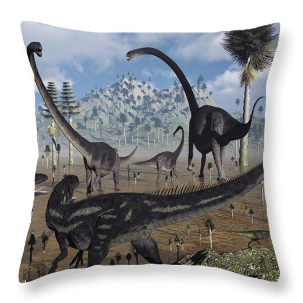 Two Allosaurus Predators Plan Throw Pillow by Mark Stevenson