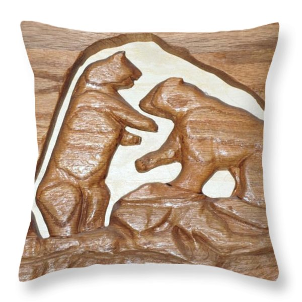 TWO BEARS PLAYING POKER Throw Pillow by Robert Margetts