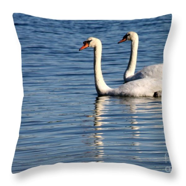 Two Beautiful Swans Throw Pillow by Sabrina L Ryan