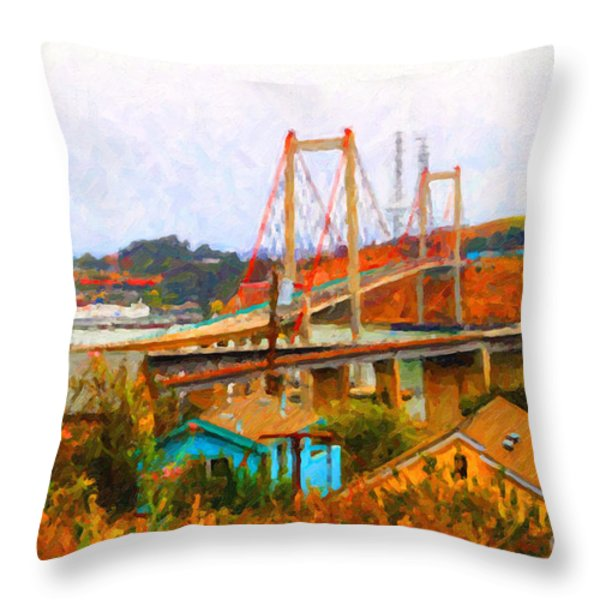Two Bridges in The Backyard Throw Pillow by Wingsdomain Art and Photography