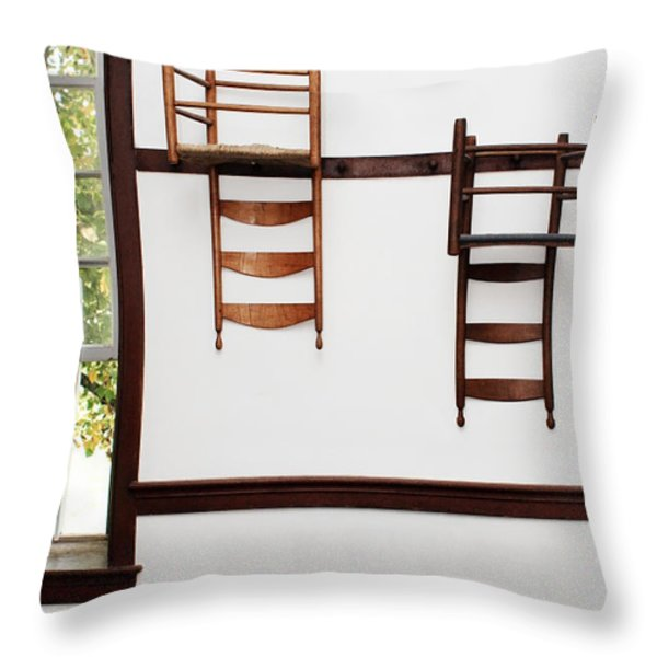 Two Chairs Throw Pillow by Stephanie Frey