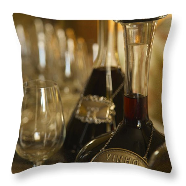 Two Decanters Of Port Wine And Glasses Throw Pillow by Michael Melford