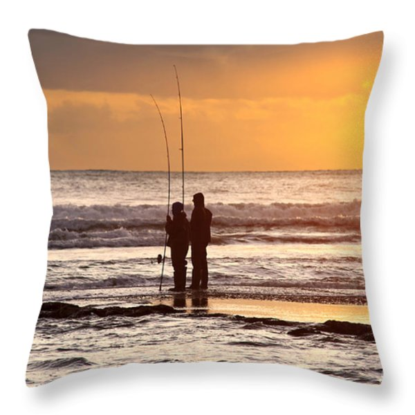 Two Fisherman Throw Pillow by Carlos Caetano
