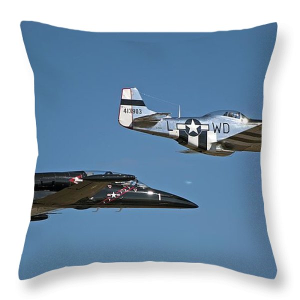 Two Generations of Aircraft Throw Pillow by Kenneth Albin