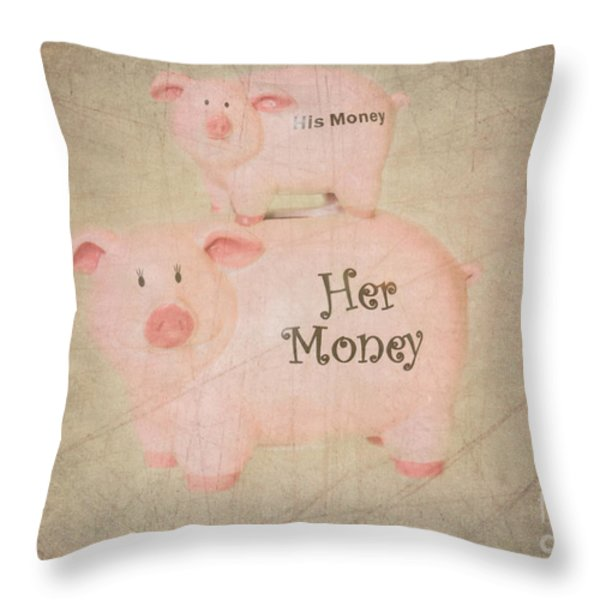 Two Little Piggies Throw Pillow by Betty LaRue