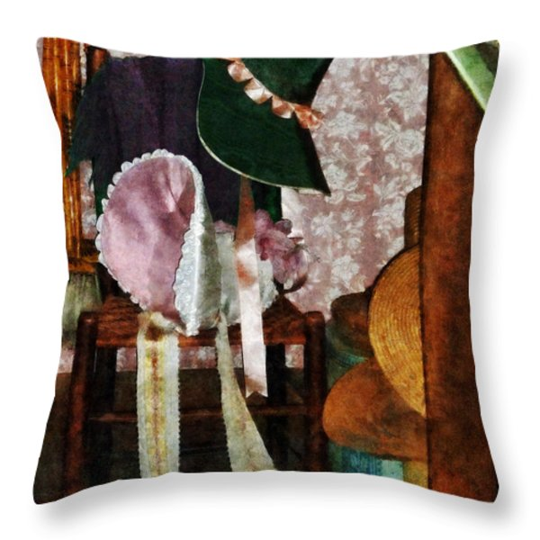 Two Old-Fashioned Bonnets Throw Pillow by Susan Savad