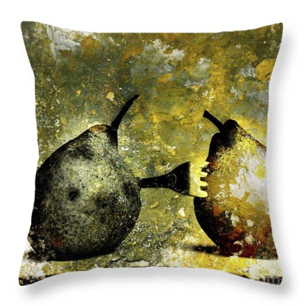 Two pears pierced by a fork. Throw Pillow by BERNARD JAUBERT